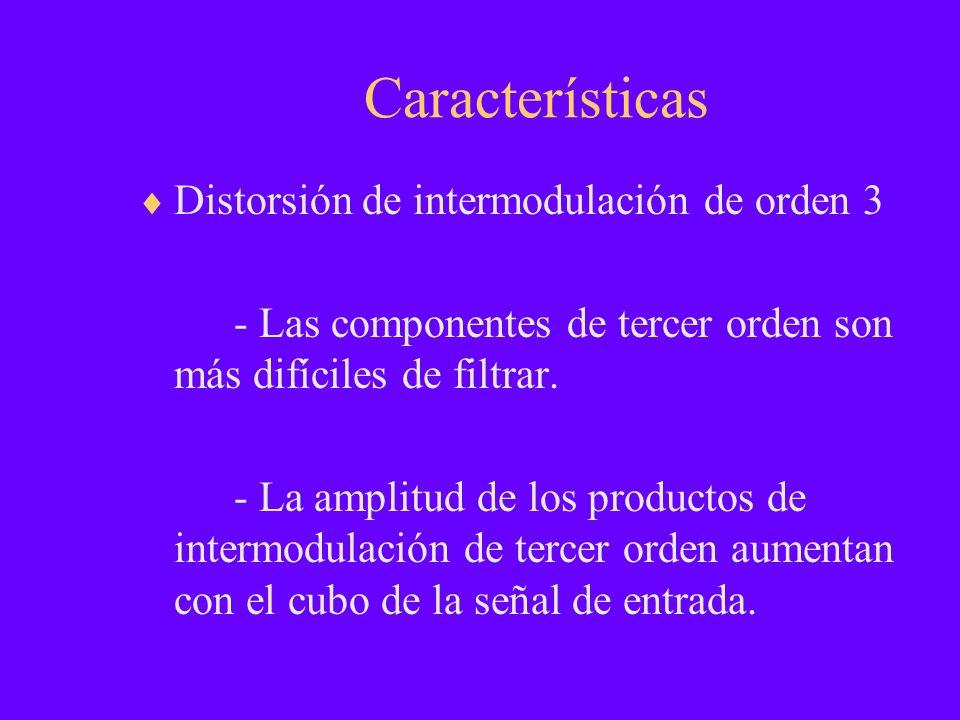 Características Distorsión de intermodulación de orden 3 - Las componentes de tercer orden son más difíciles de filtrar. - La amplitud de los producto