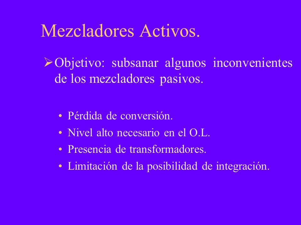 Mezcladores Activos. Objetivo: subsanar algunos inconvenientes de los mezcladores pasivos. Pérdida de conversión. Nivel alto necesario en el O.L. Pres