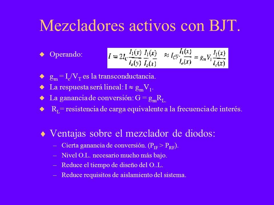 Mezcladores activos con BJT. Operando: g m = I c /V T es la transconductancia. La respuesta será lineal: I g m V 1. La ganancia de conversión: G = g m