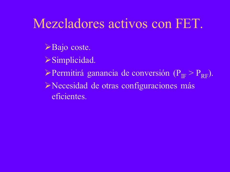 Mezcladores activos con FET. Bajo coste. Simplicidad. Permitirá ganancia de conversión (P IF > P RF ). Necesidad de otras configuraciones más eficient