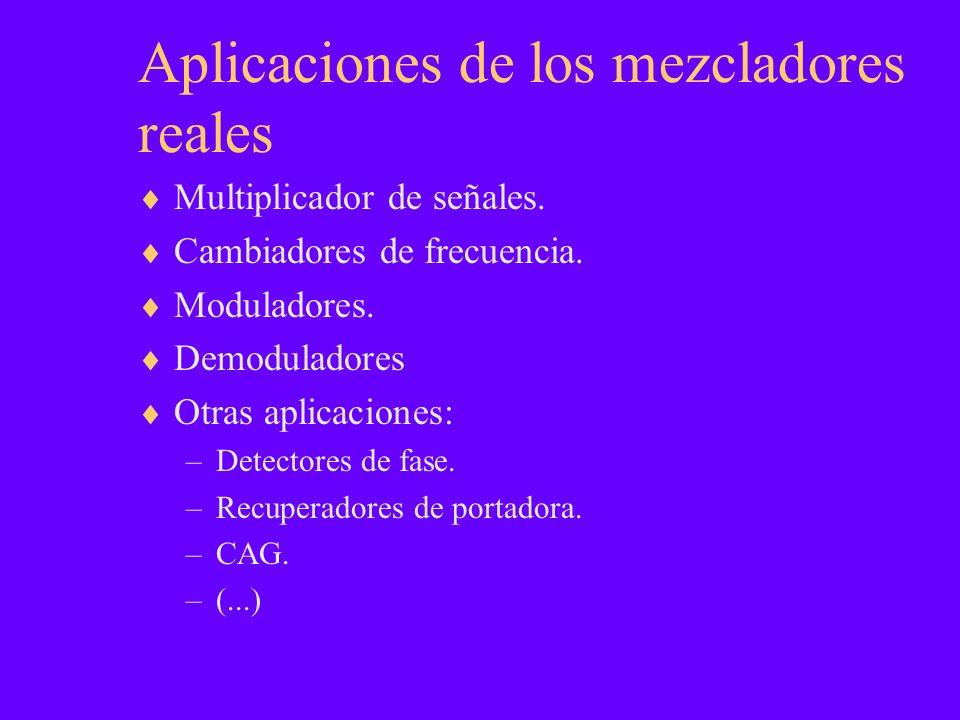 Aplicaciones de los mezcladores reales Multiplicador de señales. Cambiadores de frecuencia. Moduladores. Demoduladores Otras aplicaciones: –Detectores
