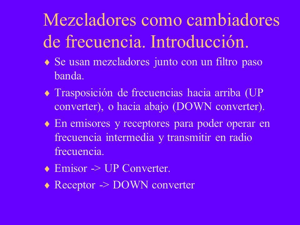 Mezcladores como cambiadores de frecuencia. Introducción. Se usan mezcladores junto con un filtro paso banda. Trasposición de frecuencias hacia arriba