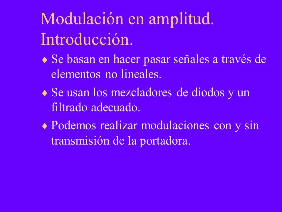 Modulación en amplitud. Introducción. Se basan en hacer pasar señales a través de elementos no lineales. Se usan los mezcladores de diodos y un filtra
