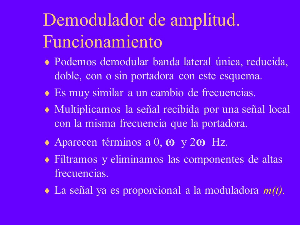 Demodulador de amplitud. Funcionamiento Podemos demodular banda lateral única, reducida, doble, con o sin portadora con este esquema. Es muy similar a