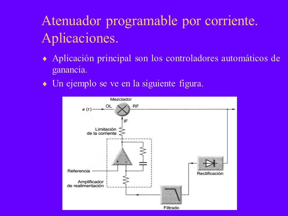 Atenuador programable por corriente. Aplicaciones. Aplicación principal son los controladores automáticos de ganancia. Un ejemplo se ve en la siguient