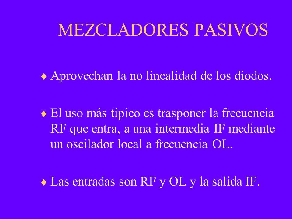 MEZCLADORES PASIVOS Aprovechan la no linealidad de los diodos. El uso más típico es trasponer la frecuencia RF que entra, a una intermedia IF mediante