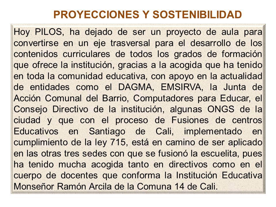 PROYECCIONES Y SOSTENIBILIDAD Hoy PILOS, ha dejado de ser un proyecto de aula para convertirse en un eje trasversal para el desarrollo de los contenid