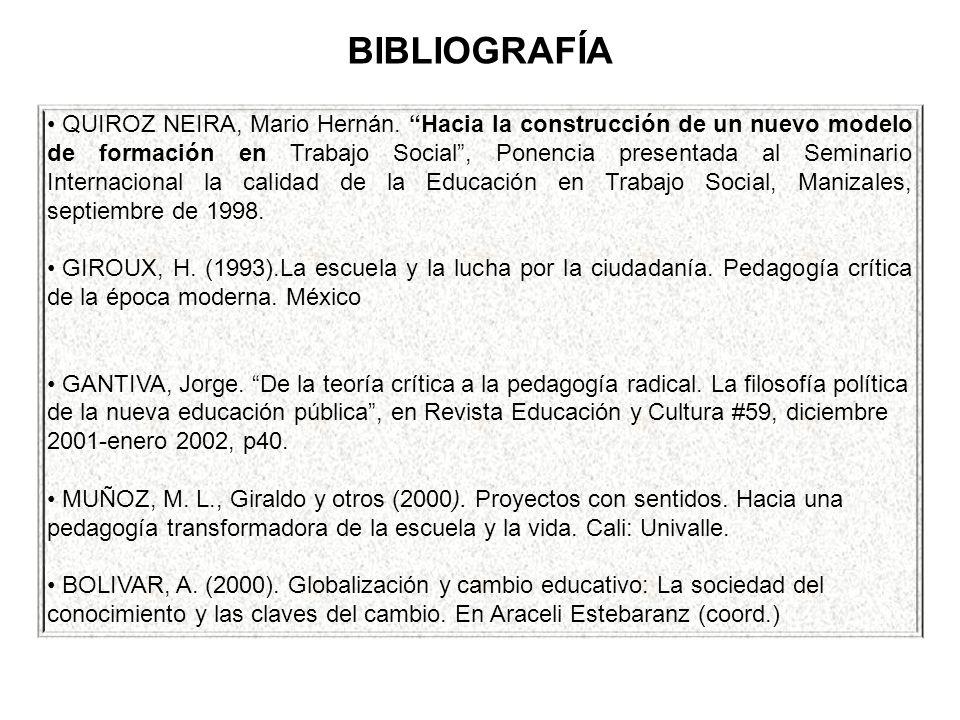 BIBLIOGRAFÍA QUIROZ NEIRA, Mario Hernán. Hacia la construcción de un nuevo modelo de formación en Trabajo Social, Ponencia presentada al Seminario Int