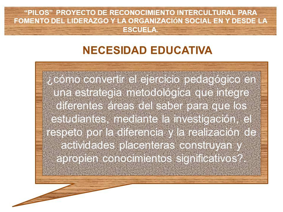 NECESIDAD EDUCATIVA ¿cómo convertir el ejercicio pedagógico en una estrategia metodológica que integre diferentes áreas del saber para que los estudia