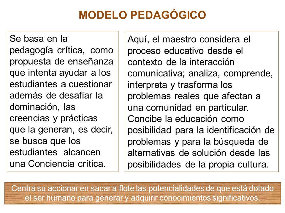 MODELO PEDAGÓGICO Aquí, el maestro considera el proceso educativo desde el contexto de la interacción comunicativa; analiza, comprende, interpreta y t