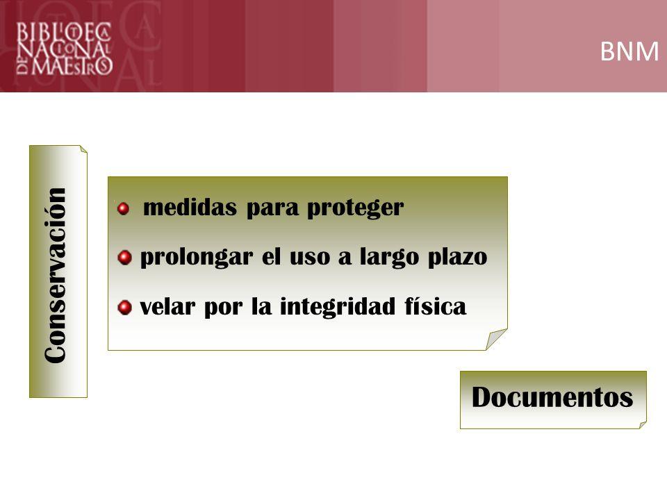 BNM Formación Conservación medidas para proteger prolongar el uso a largo plazo velar por la integridad física Documentos