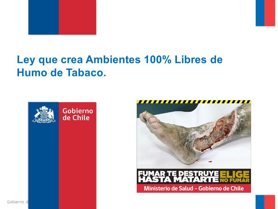 Gobierno de Chile / Ministerio de Salud Emplazamiento (Publicitario) Del mismo modo, se prohíbe en programas transmitidos en vivo, por televisión o radio, en el horario permitido para menores, la aparición de personas fumando o señalando características favorables al consumo de tabaco.