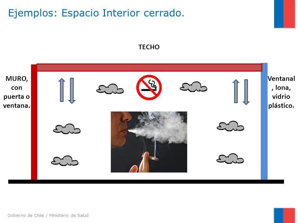 Gobierno de Chile / Ministerio de Salud Ejemplos: Espacio Interior cerrado. Ventanal, lona, vidrio plástico. TECHO MURO, con puerta o ventana.