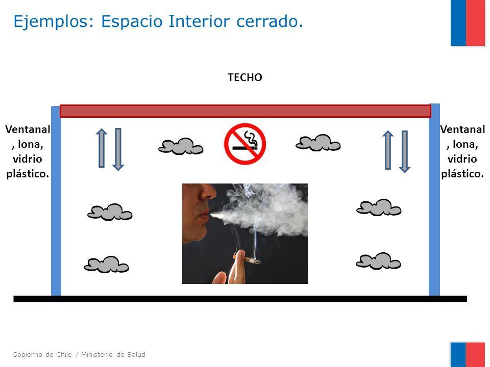 Gobierno de Chile / Ministerio de Salud Ejemplos: Espacio Interior cerrado. Ventanal, lona, vidrio plástico. TECHO Ventanal, lona, vidrio plástico.