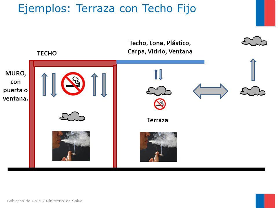Gobierno de Chile / Ministerio de Salud Ejemplos: Terraza con Techo Fijo TECHO MURO, con puerta o ventana. Terraza Techo, Lona, Plástico, Carpa, Vidri