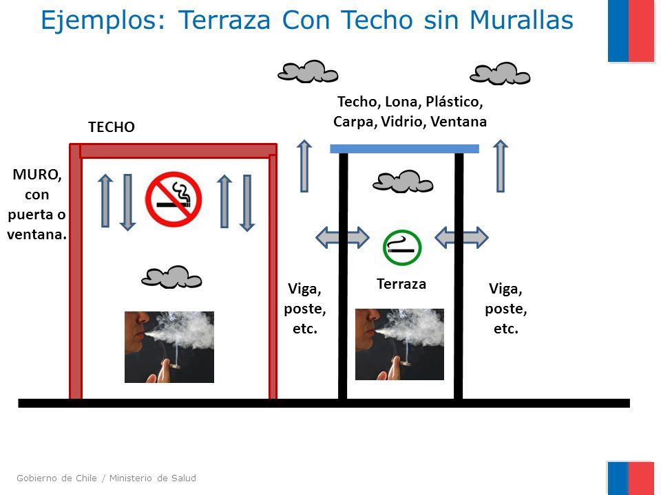Gobierno de Chile / Ministerio de Salud Ejemplos: Terraza Con Techo sin Murallas TECHO MURO, con puerta o ventana. Terraza Viga, poste, etc. Techo, Lo