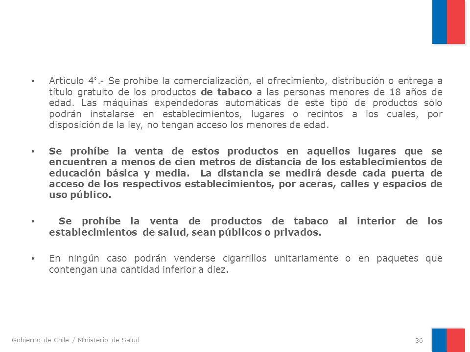 Gobierno de Chile / Ministerio de Salud Artículo 4°.- Se prohíbe la comercialización, el ofrecimiento, distribución o entrega a título gratuito de los