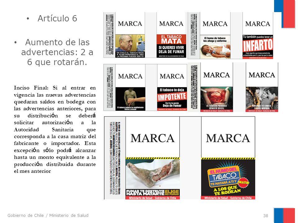 Gobierno de Chile / Ministerio de Salud Artículo 6 Aumento de las advertencias: 2 a 6 que rotarán. 38 Inciso Final: Si al entrar en vigencia las nueva