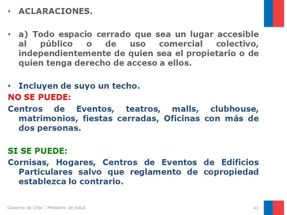 Gobierno de Chile / Ministerio de Salud ACLARACIONES. a) Todo espacio cerrado que sea un lugar accesible al público o de uso comercial colectivo, inde