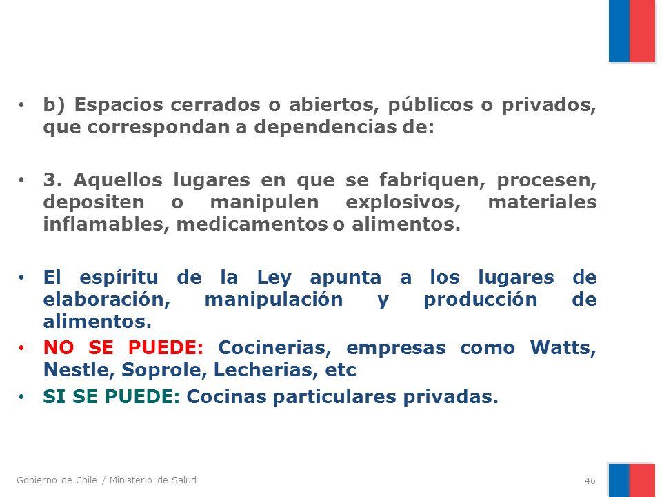 Gobierno de Chile / Ministerio de Salud b) Espacios cerrados o abiertos, públicos o privados, que correspondan a dependencias de: 3. Aquellos lugares