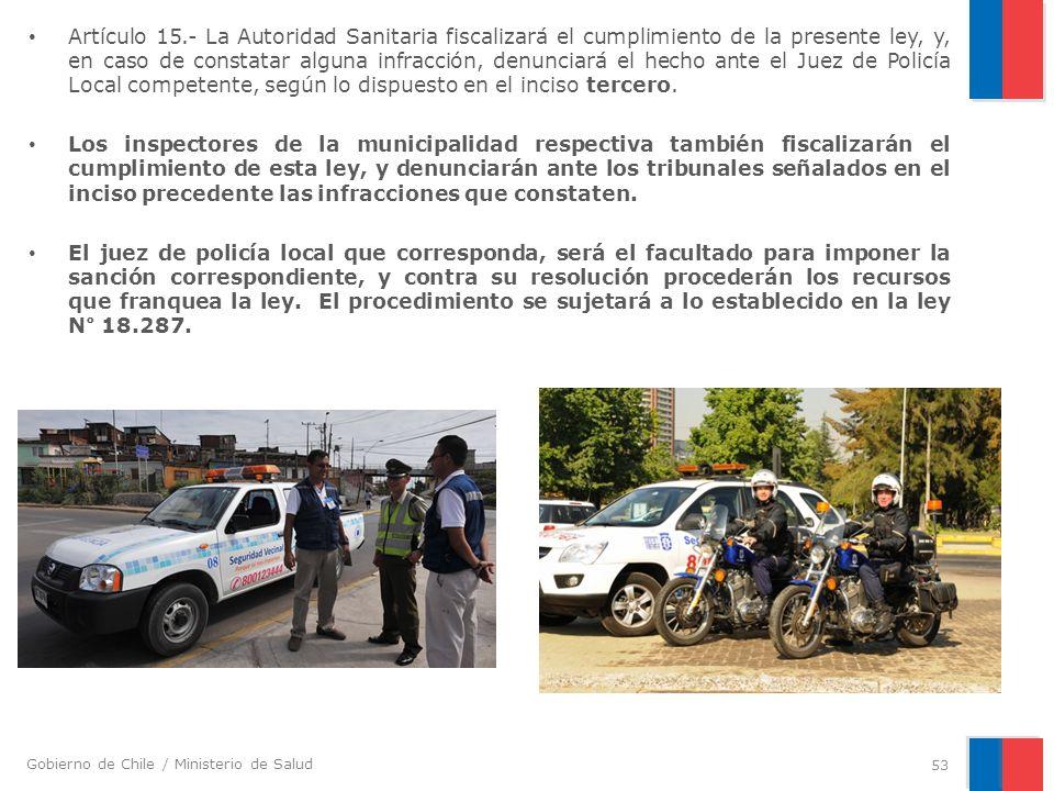Gobierno de Chile / Ministerio de Salud Artículo 15.- La Autoridad Sanitaria fiscalizará el cumplimiento de la presente ley, y, en caso de constatar a