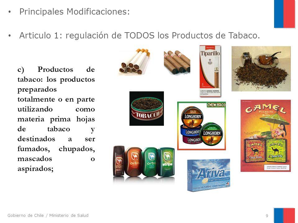Gobierno de Chile / Ministerio de Salud Principales Modificaciones: Articulo 1: regulación de TODOS los Productos de Tabaco. 9 c) Productos de tabaco: