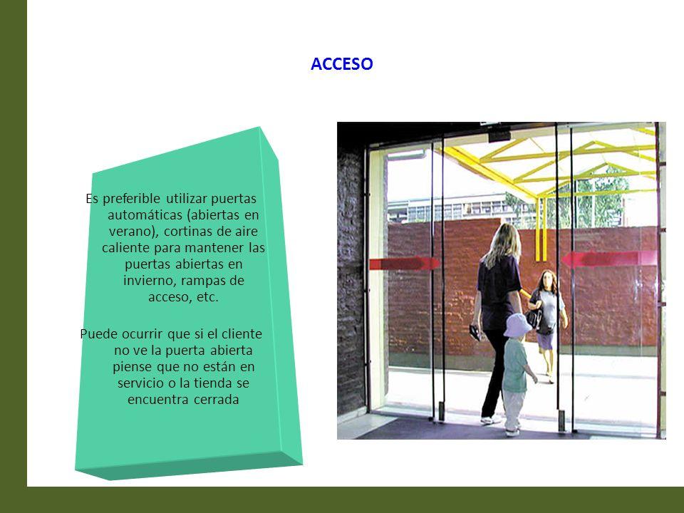 ACCESO Es preferible utilizar puertas automáticas (abiertas en verano), cortinas de aire caliente para mantener las puertas abiertas en invierno, ramp