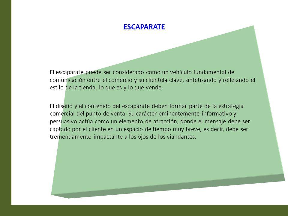 ESCAPARATE El escaparate puede ser considerado como un vehículo fundamental de comunicación entre el comercio y su clientela clave, sintetizando y ref