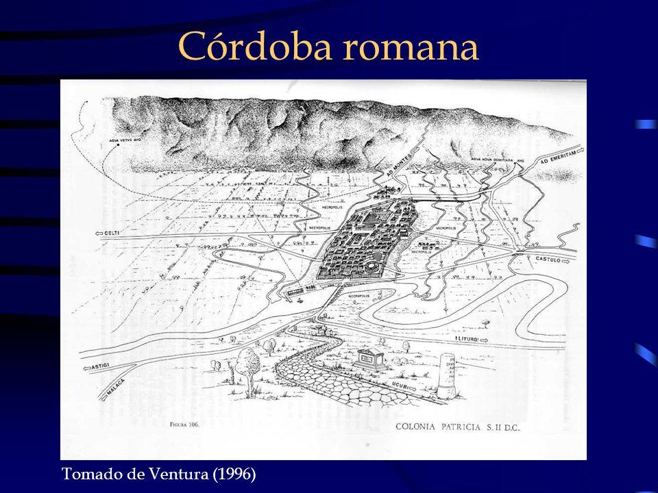 Córdoba en el 711 Un núcleo amurallado : almedina con sus puertas (bab) en las salidas de las calzadas.