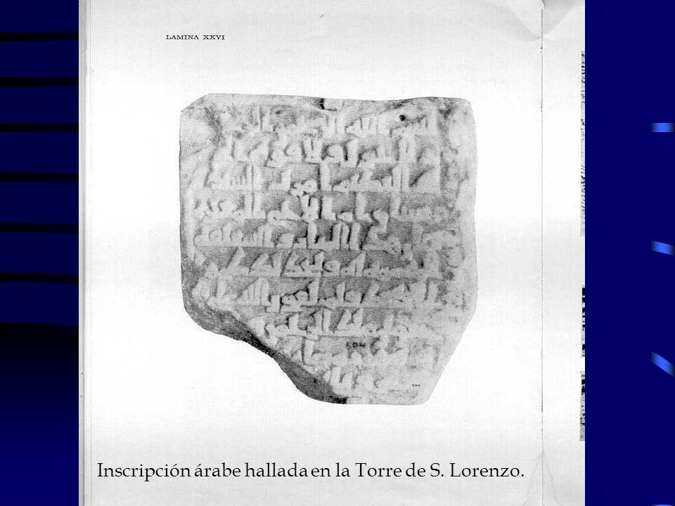 Inscripción árabe hallada en la Torre de S. Lorenzo.