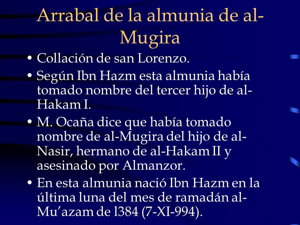 Arrabal de la almunia de al- Mugira Collación de san Lorenzo. Según Ibn Hazm esta almunia había tomado nombre del tercer hijo de al- Hakam I. M. Ocaña