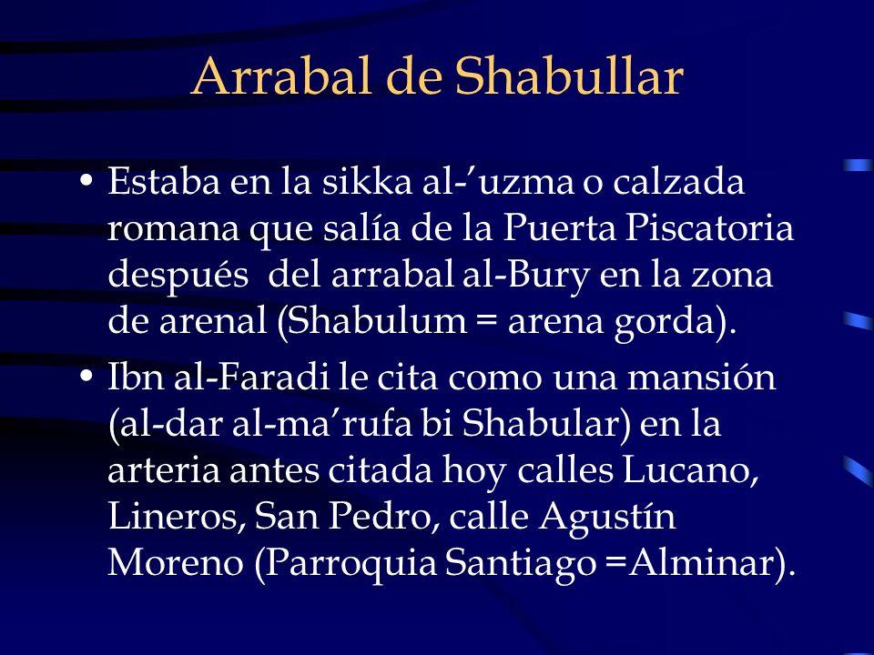Arrabal de Shabullar Estaba en la sikka al-uzma o calzada romana que salía de la Puerta Piscatoria después del arrabal al-Bury en la zona de arenal (S