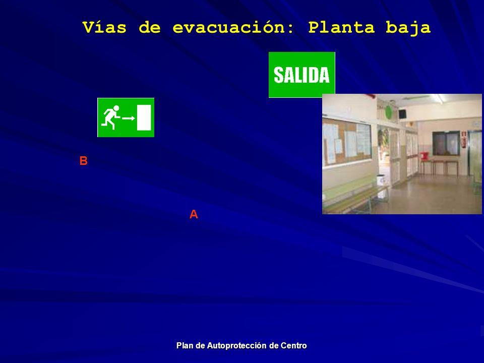 Vías de evacuación: Planta baja Plan de Autoprotección de Centro A B