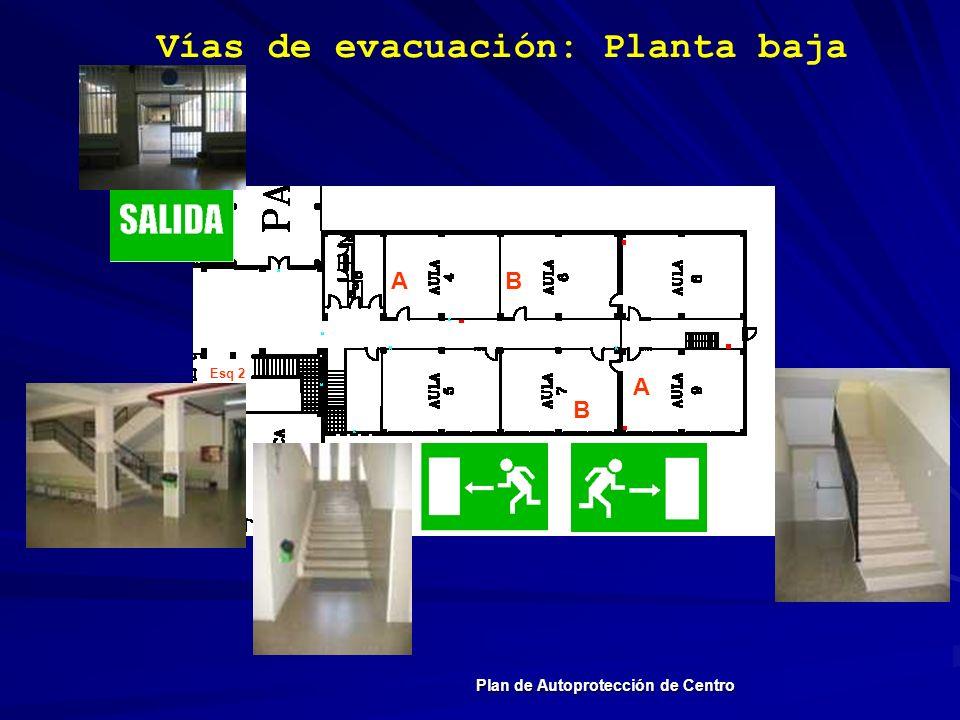 Vías de evacuación: Planta baja Plan de Autoprotección de Centro A A B B Esq 2
