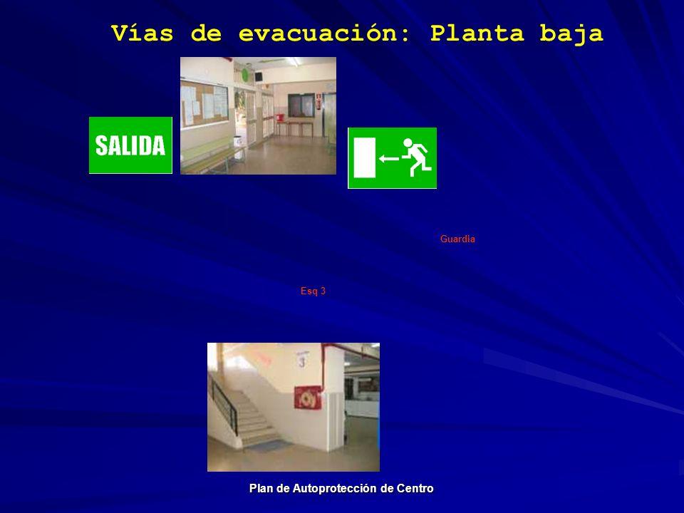 Vías de evacuación: Planta baja Plan de Autoprotección de Centro Guardia Esq 3