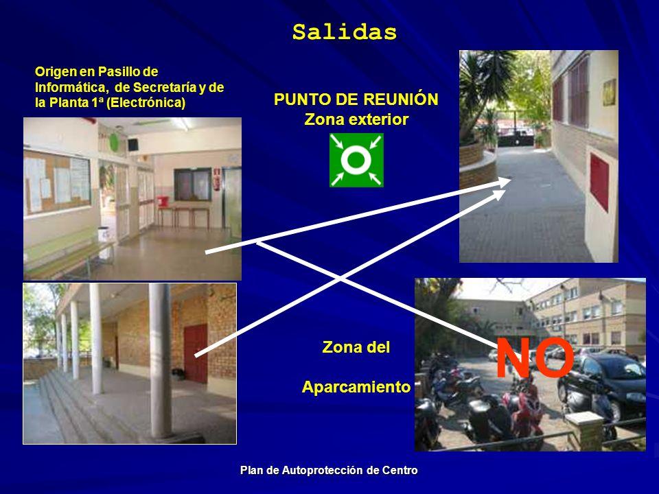 Salidas Plan de Autoprotección de Centro Origen en Pasillo de Informática, de Secretaría y de la Planta 1ª (Electrónica) Zona del Aparcamiento PUNTO D
