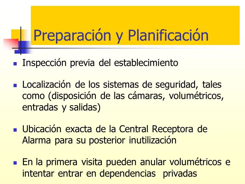 Preparación y Planificación Inspección previa del establecimiento Localización de los sistemas de seguridad, tales como (disposición de las cámaras, v