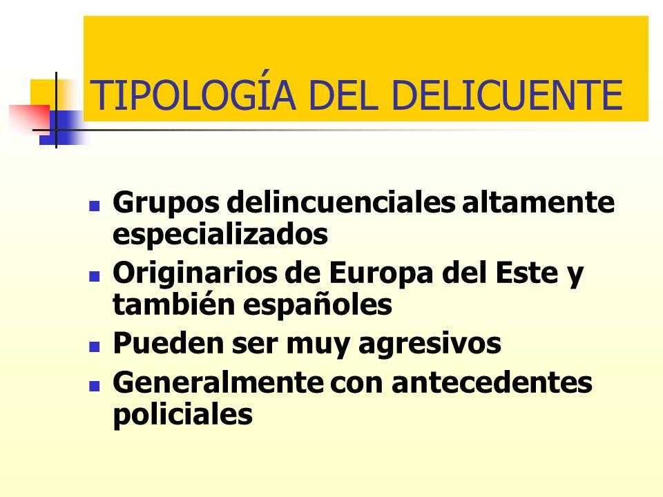 TIPOLOGÍA DEL DELICUENTE Grupos delincuenciales altamente especializados Originarios de Europa del Este y también españoles Pueden ser muy agresivos G