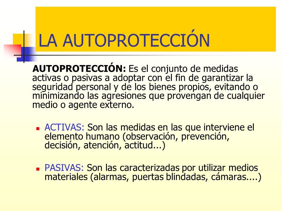 LA AUTOPROTECCIÓN AUTOPROTECCIÓN: Es el conjunto de medidas activas o pasivas a adoptar con el fin de garantizar la seguridad personal y de los bienes