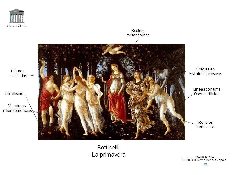 Claseshistoria Historia del Arte © 2006 Guillermo Méndez Zapata Botticelli. La primavera Figuras estilizadas Líneas con tinta Oscura diluida Rostros m