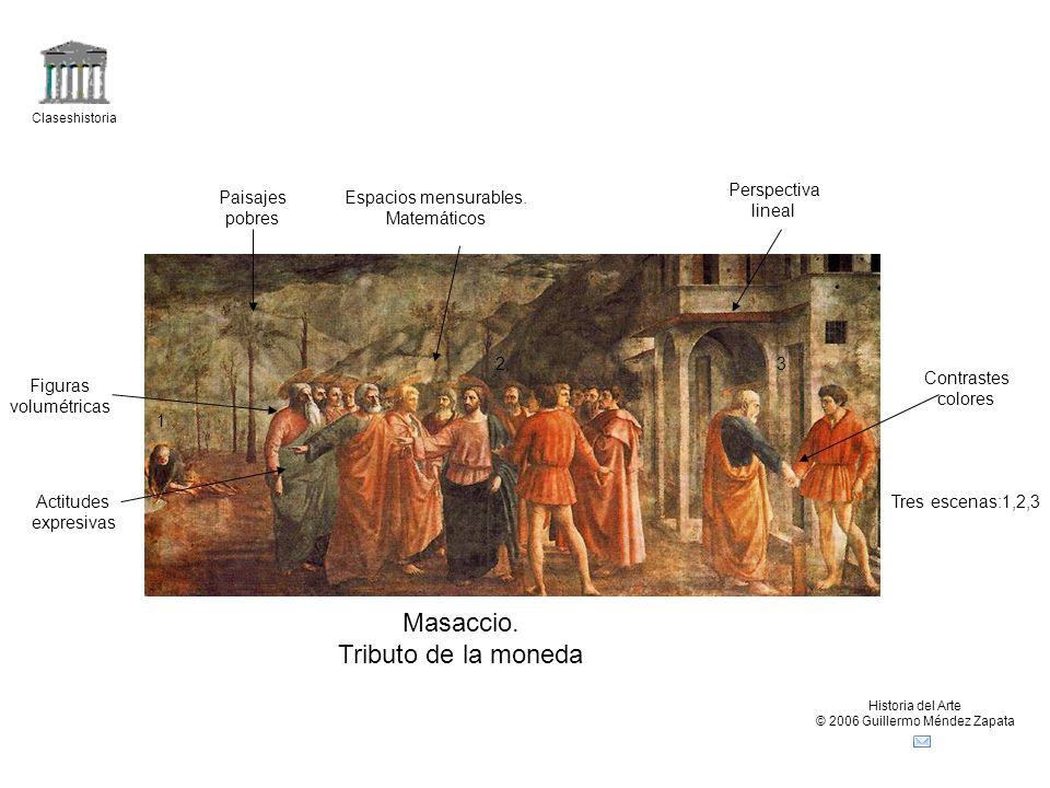 Claseshistoria Historia del Arte © 2006 Guillermo Méndez Zapata Masaccio. Tributo de la moneda Tres escenas:1,2,3 1 23 Paisajes pobres Perspectiva lin