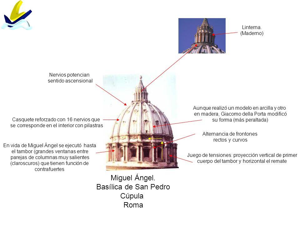 Linterna. (Maderno) Miguel Ángel. Basílica de San Pedro Cúpula Roma En vida de Miguel Ángel se ejecutó hasta el tambor (grandes ventanas entre parejas