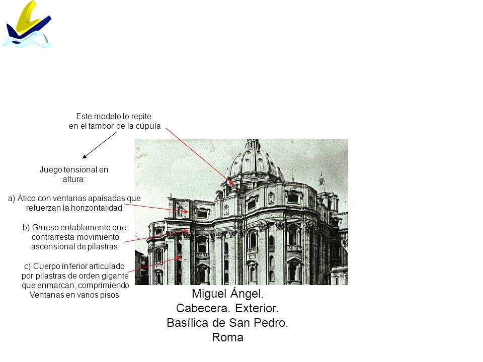 Miguel Ángel. Cabecera. Exterior. Basílica de San Pedro. Roma Juego tensional en altura: a) Ático con ventanas apaisadas que refuerzan la horizontalid