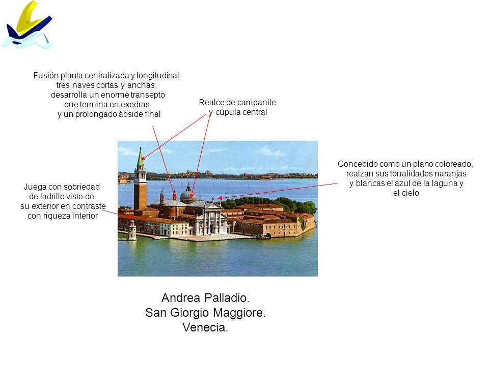 Andrea Palladio. San Giorgio Maggiore. Venecia. Concebido como un plano coloreado, realzan sus tonalidades naranjas y blancas el azul de la laguna y e