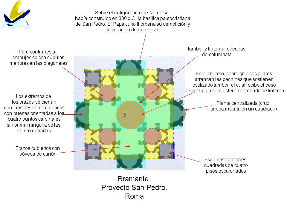 Bramante. Proyecto San Pedro. Roma Planta centralizada (cruz griega inscrita en un cuadrado) Sobre el antiguo circo de Nerón se había construido en 33