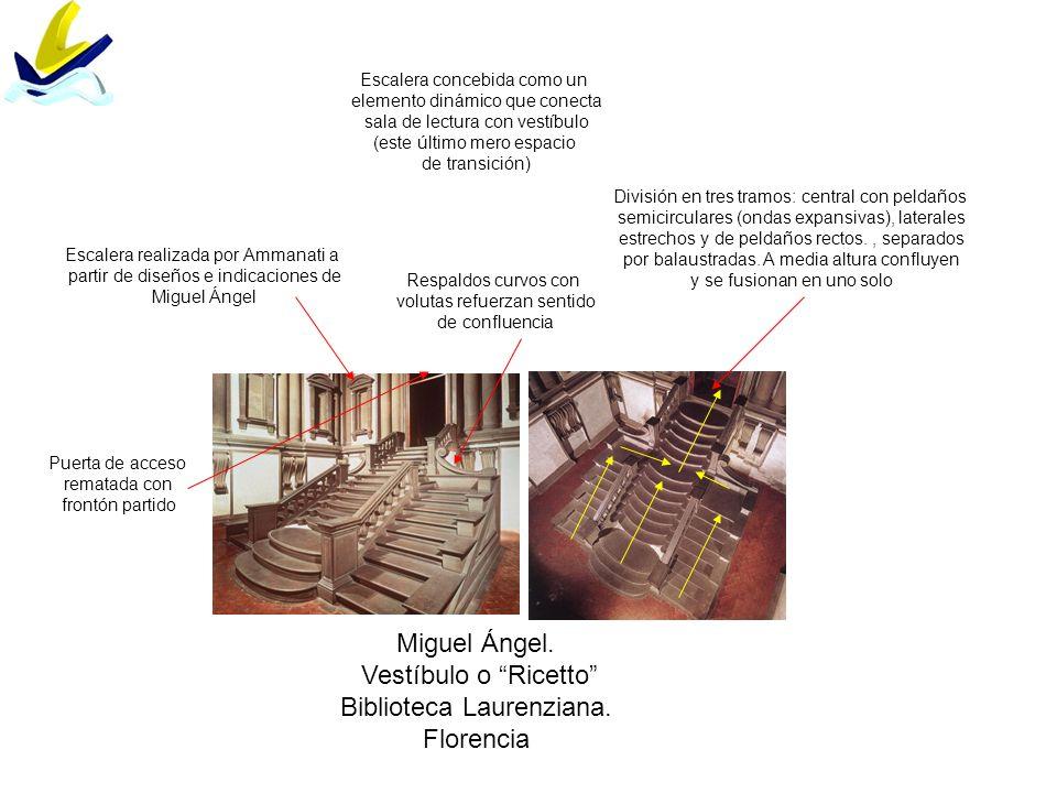 Miguel Ángel. Vestíbulo o Ricetto Biblioteca Laurenziana. Florencia Escalera realizada por Ammanati a partir de diseños e indicaciones de Miguel Ángel
