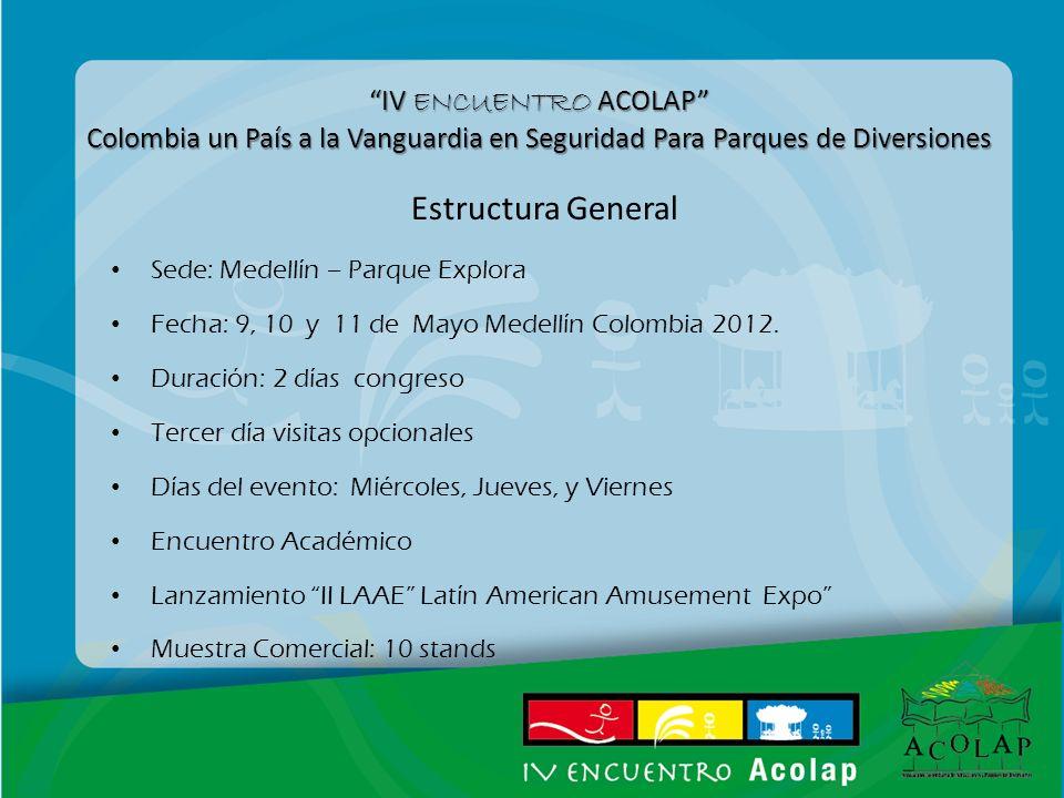 IV ENCUENTRO ACOLAP Colombia un País a la Vanguardia en Seguridad Para Parques de Diversiones Estructura General Sede: Medellín – Parque Explora Fecha