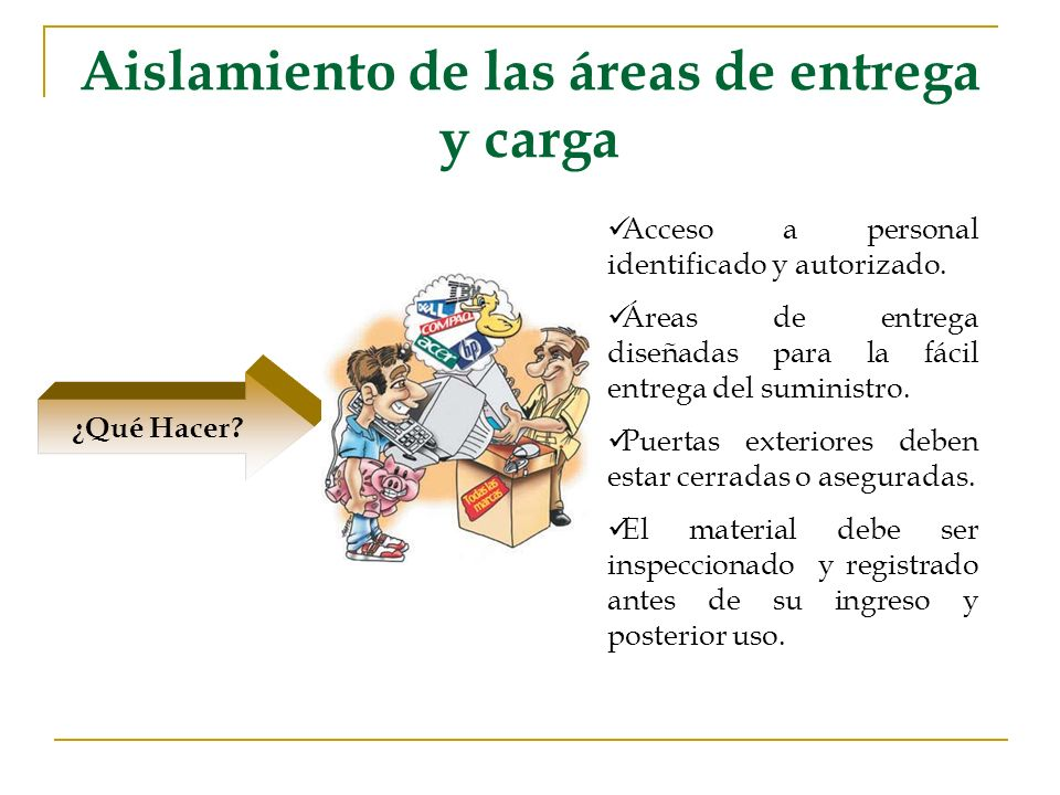 Aislamiento de las áreas de entrega y carga ¿Qué Hacer? Acceso a personal identificado y autorizado. Áreas de entrega diseñadas para la fácil entrega