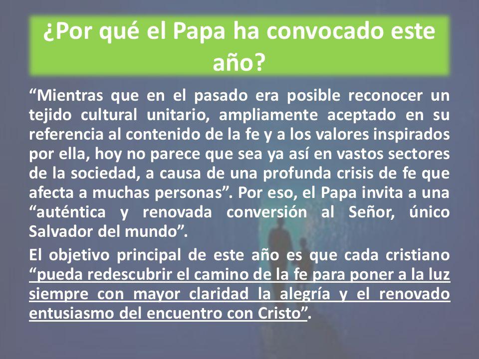 ¿Por qué el Papa ha convocado este año? Mientras que en el pasado era posible reconocer un tejido cultural unitario, ampliamente aceptado en su refere
