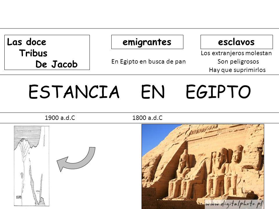 Los extranjeros molestan En Egipto en busca de pan Son peligrosos Hay que suprimirlos ESTANCIA EN EGIPTO 1900 a.d.C 1800 a.d.C Las doce Tribus De Jaco